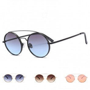 Modern round flat lens big sunglasses w/ double bridges