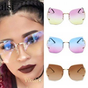 Simple Oversized Gradient Faceted Lens Rimless Shades