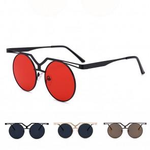 Retro Metal Frame Flat Lens Punk Round Sunglasses