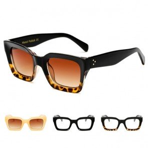Boxy bold frame flat top rectangle square sunglasses