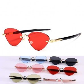 Pen shaped legs trendy rimless cat eyes sunglasses