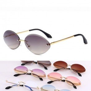 Retro hippie punk oval rimless sunglasses colored tint