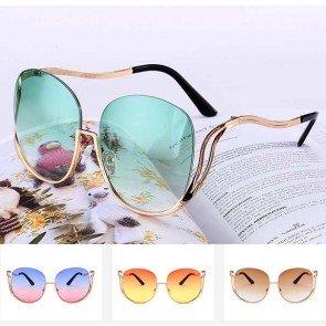 Casual double tone tinted oversize rimless sunglasses