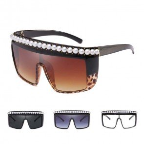 Oversize bold frame pearls flat top shield sunglasses
