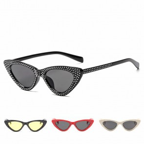 Elegant vintage women rhinestone cat eye sunglasses