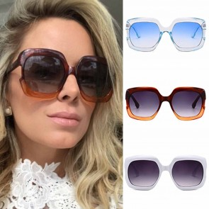 Flat Top Oversize Sunglasses Gradient Lens Square Frame