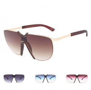 Shield Tear Drop Lens Overesized Aviator Sunglasses