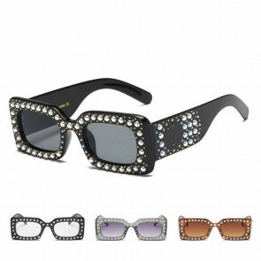 Luxury Bling Pearls Embellished Rectangular Shades