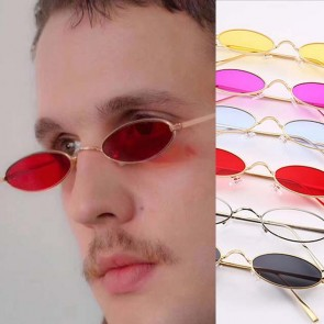 Steampunk retro small round sun glasses oval flat lens