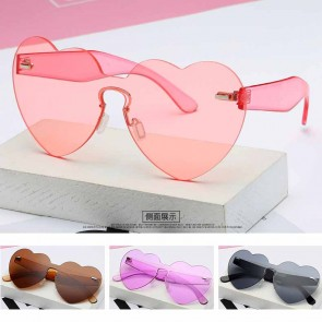 Cute Heart Shaped Sunglasses Candy Colored Flat Lens
