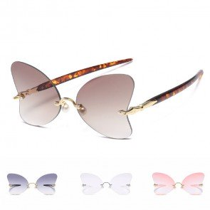 Butterfly Shaped Sunglasses Fashion Flat Lens Shades