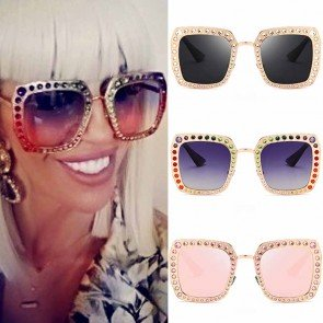 Glittered modern square crystal embellished sunglasses