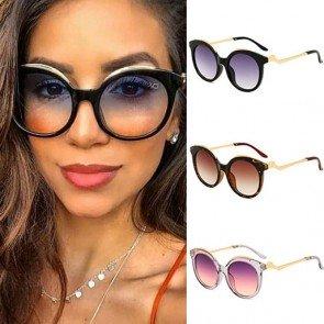 Women Vintage Shades Oversized Round Frame Sunglasses