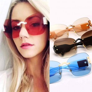 Cat eye candy colored rimless lens thick legs shades