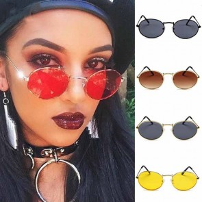 Round Retro Silhouette Cute Oval Vintage Sunglasses
