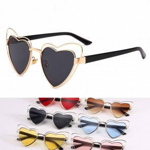 Women's heart shape sunglasses double rims solid tint