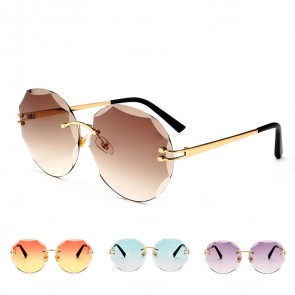Modern Rimless Faceted Lens Metal Legs Round Sunglasses