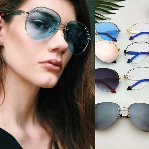 Aviator Sunglasses with Metallic Rivets & Arrow Legs