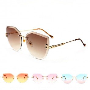 Candy Colored Lens Cat Eye Rimless Sunglasses for Girls