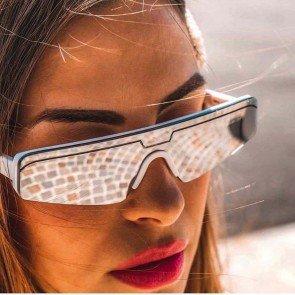 One Piece Futuristic Sunglasses Flat Top Shield Lens