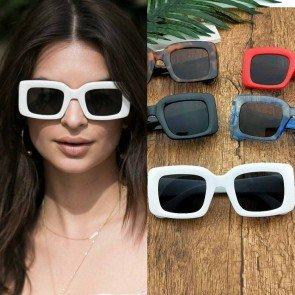 Luxury Flat Screen Unisex Bold Square Sunglasses
