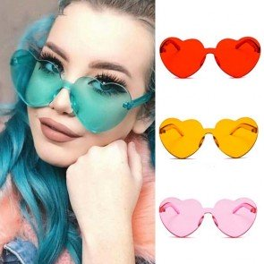 One Piece Lens Rimless Block Heart Shaped Sunglasses