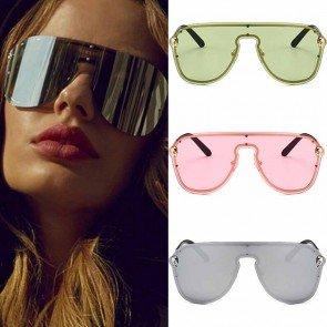 Reflective Mirror Lenses Metal Frame Aviator Sunglasses