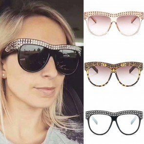 High pointed large frame cat eyes bling sunglasses