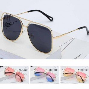 Oversize tear drop fade lens metal aviator sunglasses