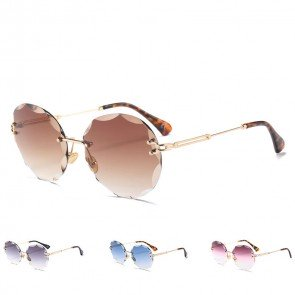 Rimless Shades Oversized Round Flat Lens Sunglasses