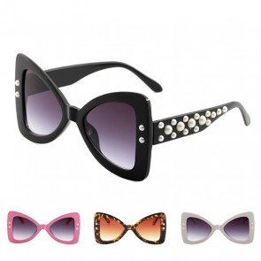 Butterfly Oversize Fade Tint Pearls Decorated Sunnies
