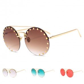 Festival hippie round sunglasses w/ buttons around rim