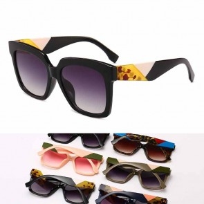 Multicolor square thick frame oversize cat eyed shades