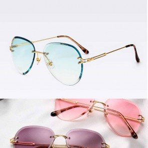 Unisex fashion rimless pilot sunglasses metal frame