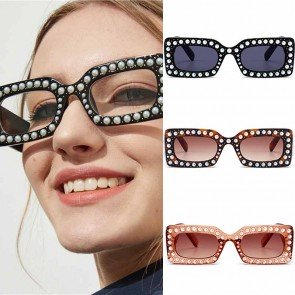 Ladies luxurious bling pearl shades studded sunglasses