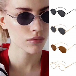 Modern curved arms sleek cute tiny round sunglasses
