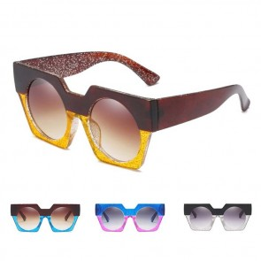 Unique Large Boxy Frame Flat Lens Catty Sunglasses