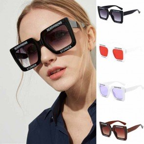Retrospective square sunglasses w/ fashionable letters