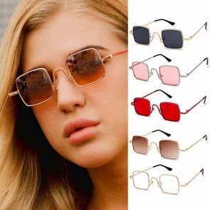 Vintage Steampunk Square Flat Lens Small Sunglasses