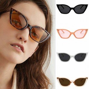Dramatically Sleek Steamlined Slim Cat Eye Sunglasses