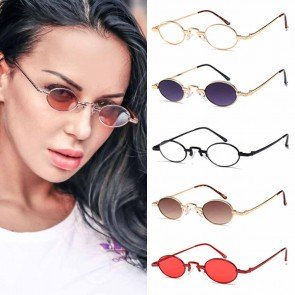 Metal Frame Wire Rim Retro Hippie Tiny Oval Sunglasses