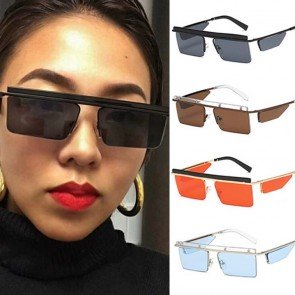 Side Shields Steampunk Rectangular Flat Top Sunglasses