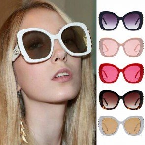 Butterfly Oversized Sunglasses w/ Gold Tone Side Bar