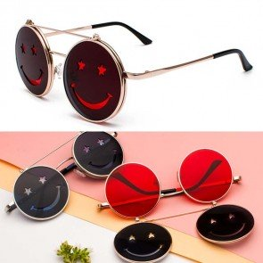 Hippie Punk Round Sunglasses Smile Face Flip Up Lens