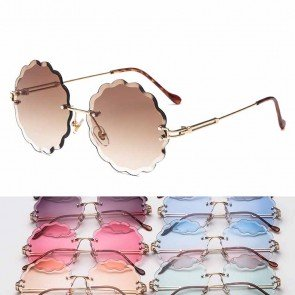Permed hair wave round sunglasses rimless fade lens