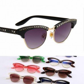 Half frame cat eye horned rim bling stone sunglasses