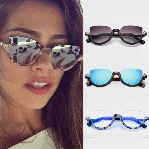 Eyewear Half Frame Cat Eye Sunglasses with Rhinestones