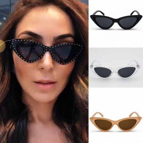 Faddish Cat Eye Sunglasses with Cool Dot Rivets Around