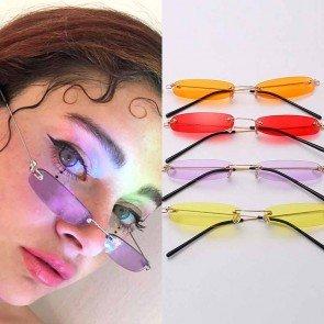 Small Rectangular Rimless Sunglasses Retro Tiny Shades