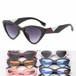 Multi-color Temple Rivets Rim Cat Eye Girls Sunglasses